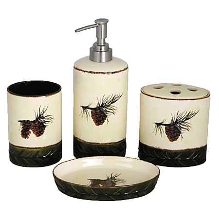 Pine Cones Ceramic Bath Accessories Set