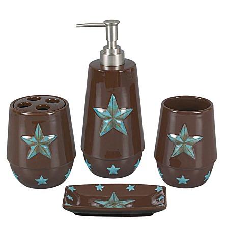 Western Bath Decor Laredo Star 4pc Bath Set Turquoise