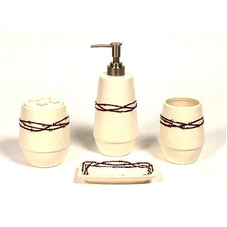 western bath decor barbwire western 4pc bath accessories set
