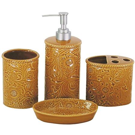 Savannah western bath accessories set mustard for Savannah bathroom accessories