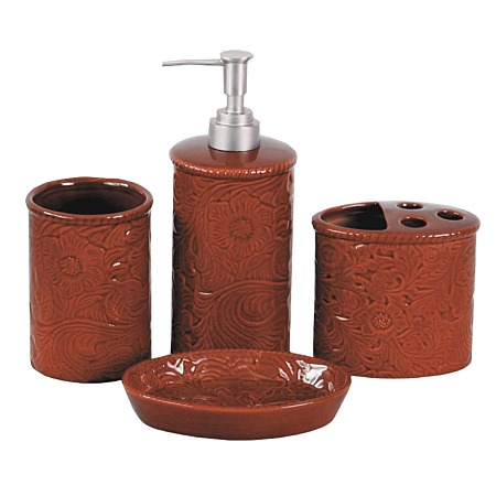 Savannah western bath accessories set red for Red bathroom accessories