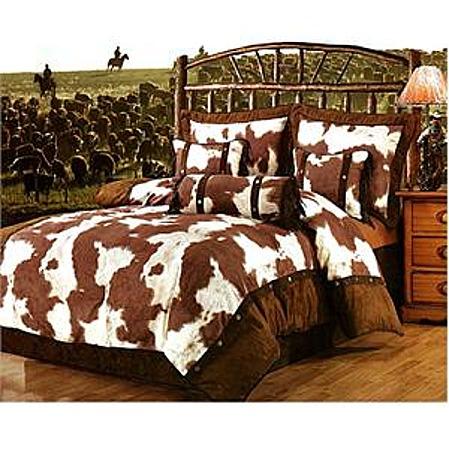Cowskin cowhide print western bedding set twin for Cow bedroom ideas