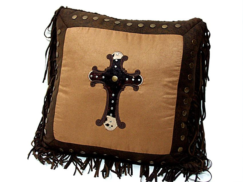 Decorative Pillows With Crosses : Cowhide Cross Throw Pillow