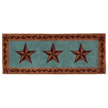 Superior Laredo Star Bath Rug Or Kitchen Rug Turquoise 24x60. Western Bath Decor  Western Decor For