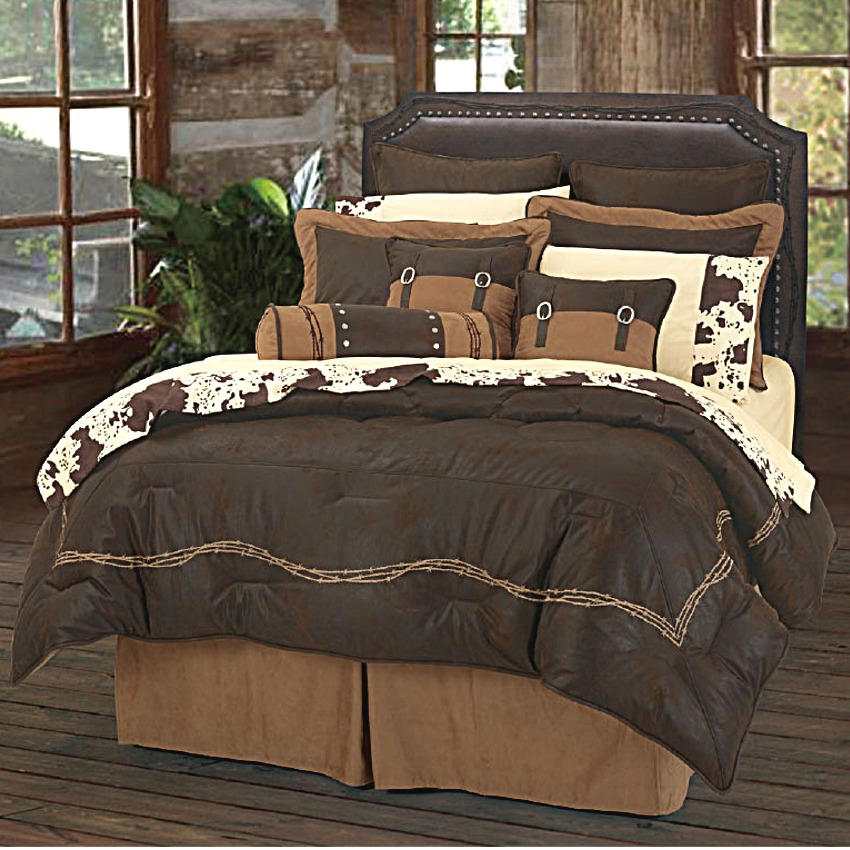 Ranch Barbwire Western Bedding Comforter Set Chocoate