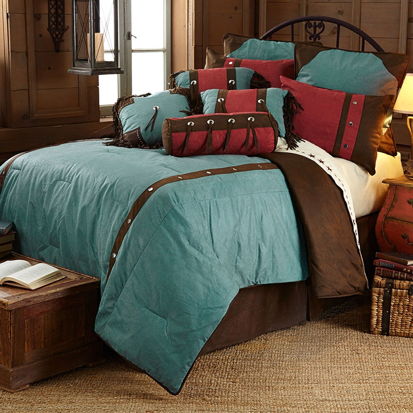 Turquoise Western Floral Bedding Sets Full Size California King Cheap