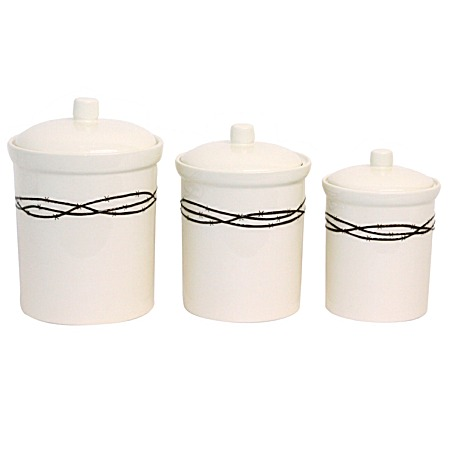 Barbwire rustic ranch western decor kitchen canister set - Western canisters for kitchen ...