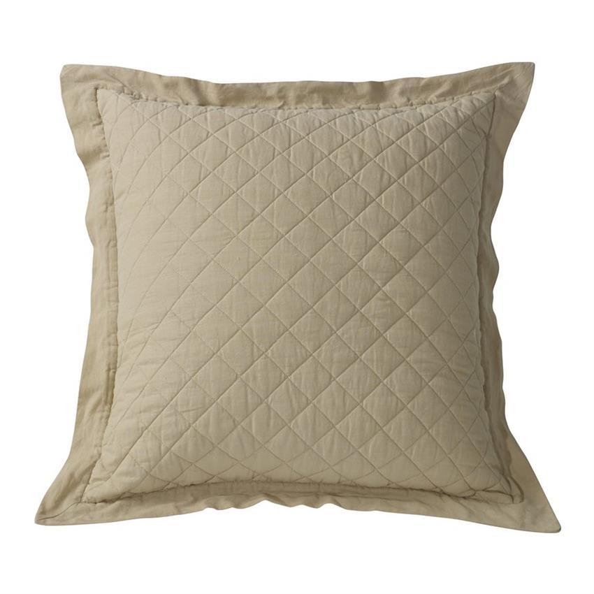 Linen Quilt Standard Pillow Sham 1 Khaki
