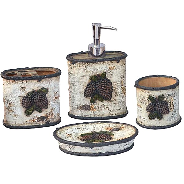 Pine Cone Rustic Bath Accessories Set