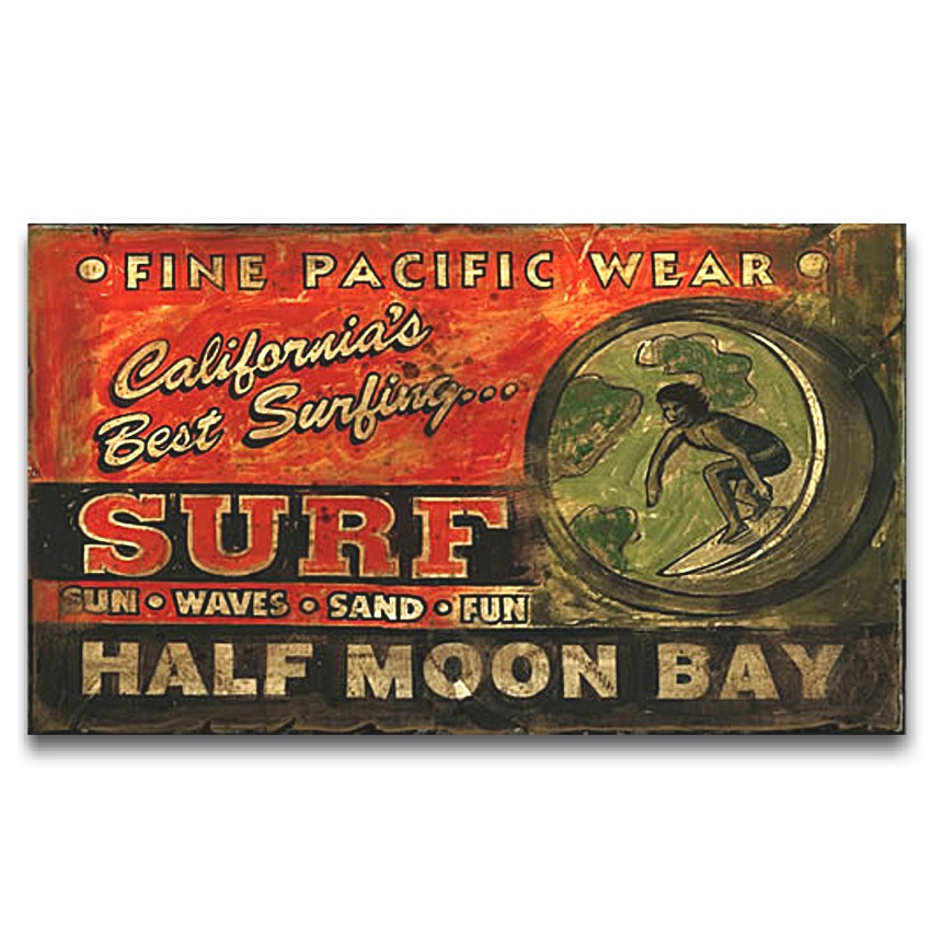 SURF SHOP HALF MOON BAY Vintage Wood Sign Large