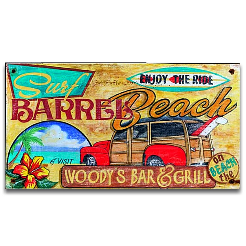 Woody Surf Barrel Beach Vintage Wood Sign 26x14