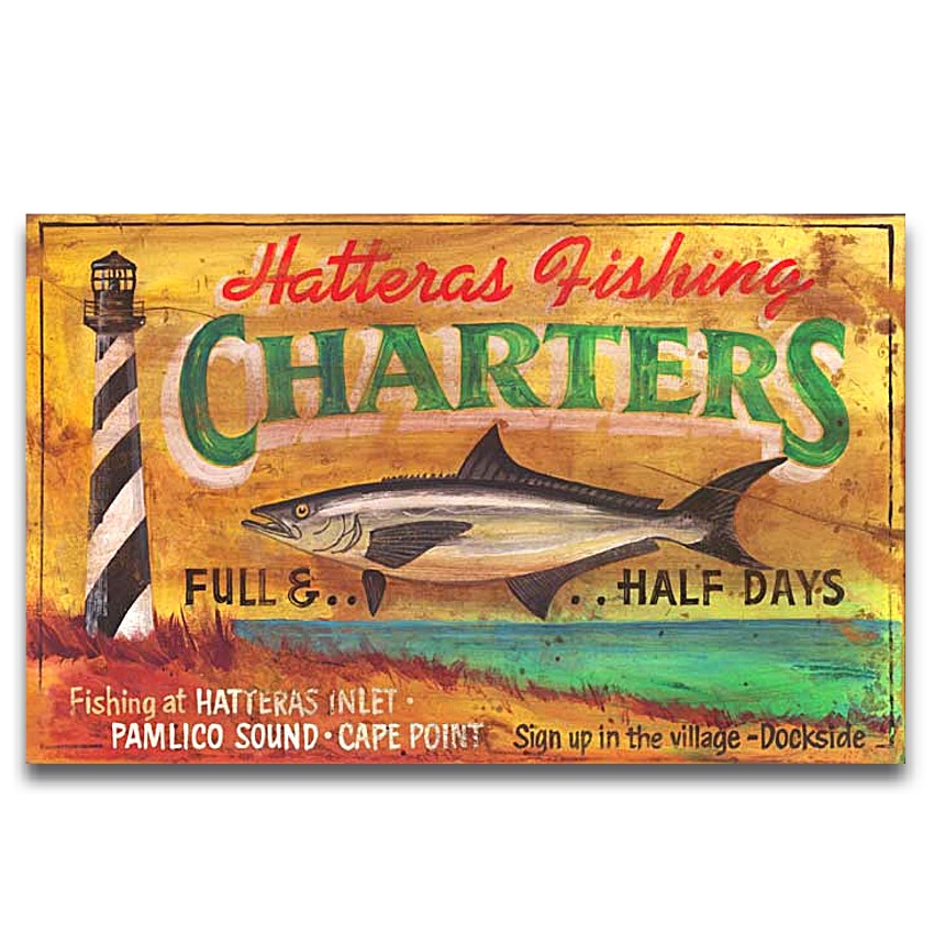 hatteras charters vintage wood sign 26x14