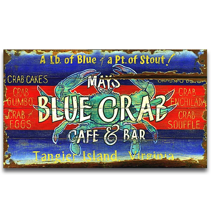 BLUE CRAB Cafe Bar Vintage COASTAL DECOR Wood Sign Large 32x20