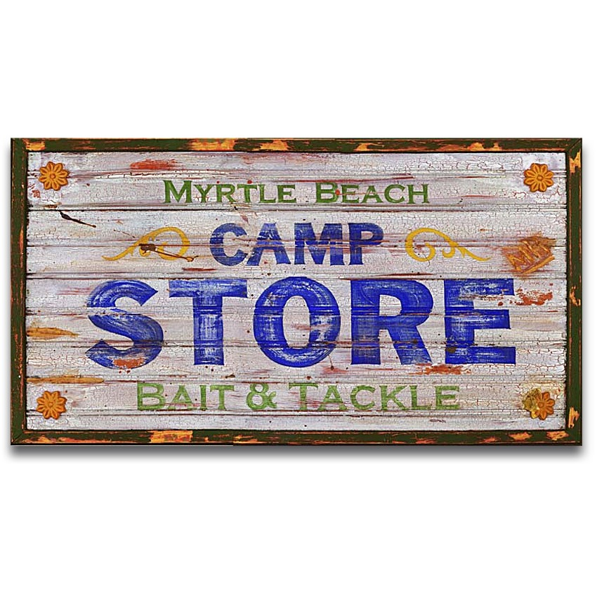 MYRTLE BEACH CAMP STORE Vintage Coastal Decor Wood Sign 32x20