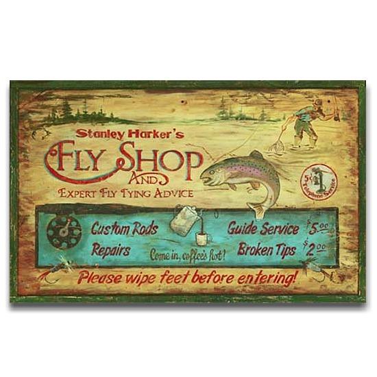 Harker 39 s fly shop vintage rustic lodge decor wood sign 26x14 for Vintage fishing signs