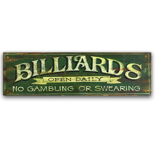 Billards green game room decor vintage wood sign 32x9 for Room decor signs