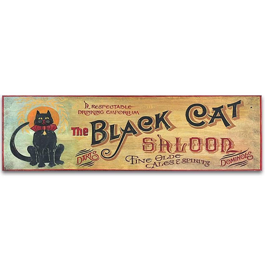 Black Cat Saloon Vintage Wood Sign 40x14