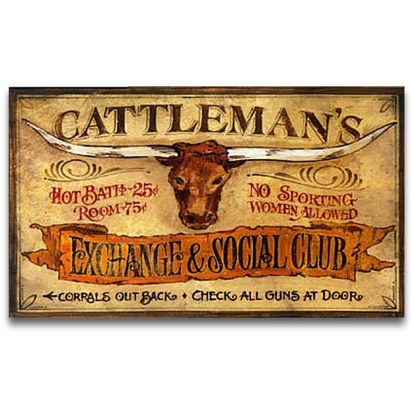 Cattleman's Vintage Wood Western Decor Sign 26x14