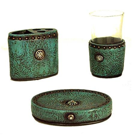 Turquoise concho 3 piece bath accessories set for Turquoise bath accessories