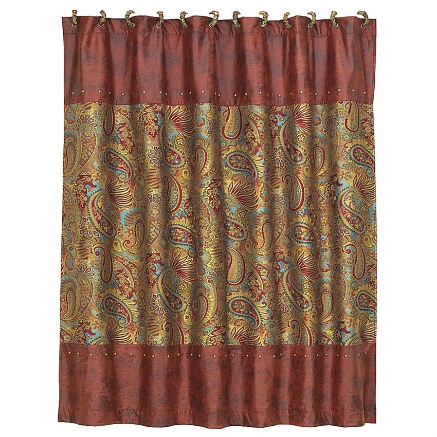 San Angelo Western Paisley Style Shower Curtain. Measures 72 x 72.