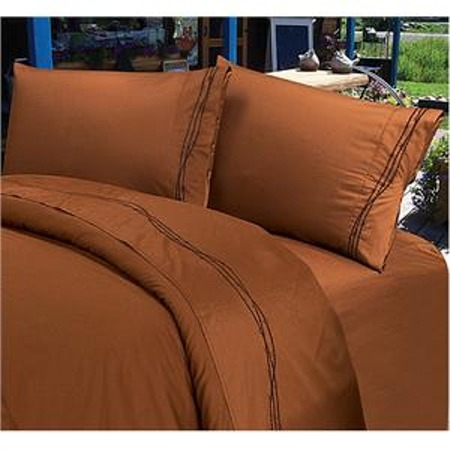 Western Bedding Barbwire Embroidered Sheet Set Copper