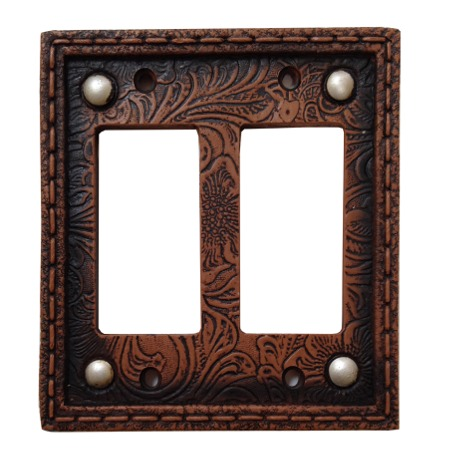 Tooled western decorative switch wall plate double rocker switch - Decorative switch wall plates ...