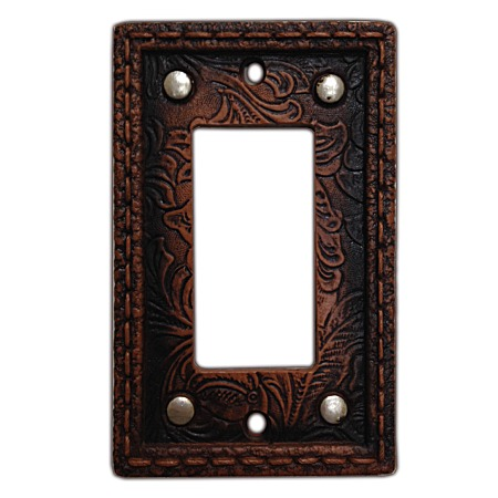 Tooled western decorative switch wall plate single rocker switch - Wall switch plates decorative ...