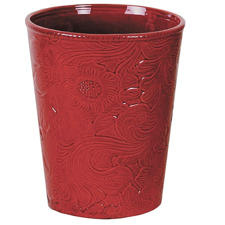 Savannah western styled ceramic wastebasket red - Rd wastebasket ...