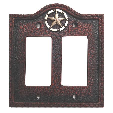Circle star western decorative double rocker switch plate wall plate - Decorative switch wall plates ...