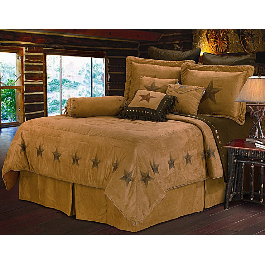star dark tan western bedding set full. Black Bedroom Furniture Sets. Home Design Ideas