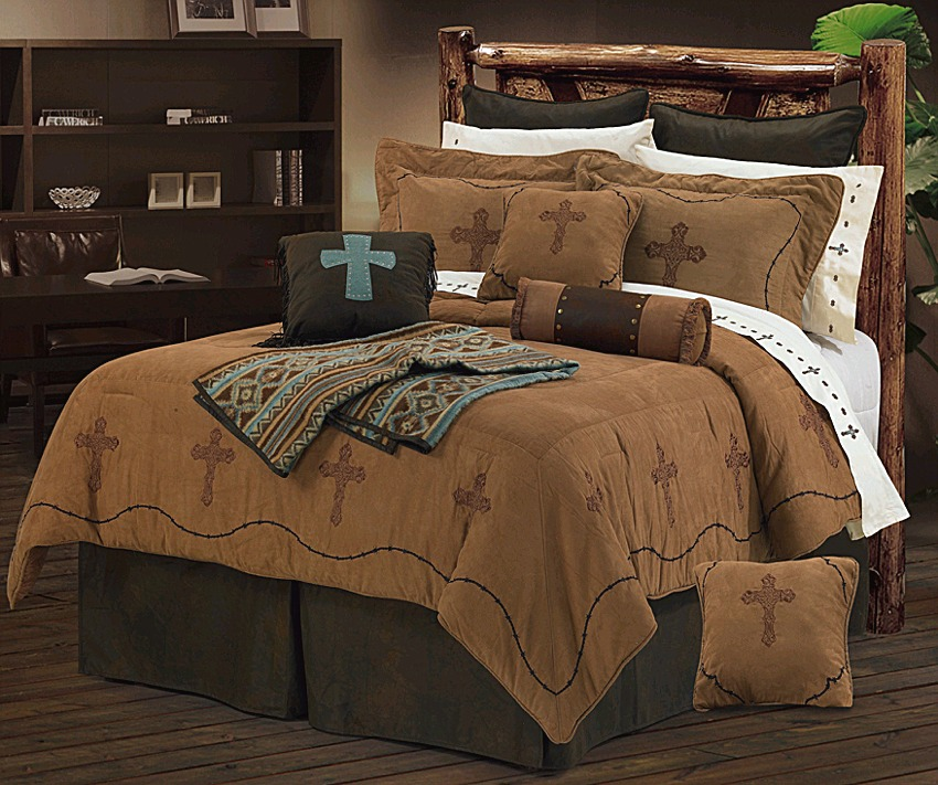 barbwire cross embroidery dark tan western bedding set