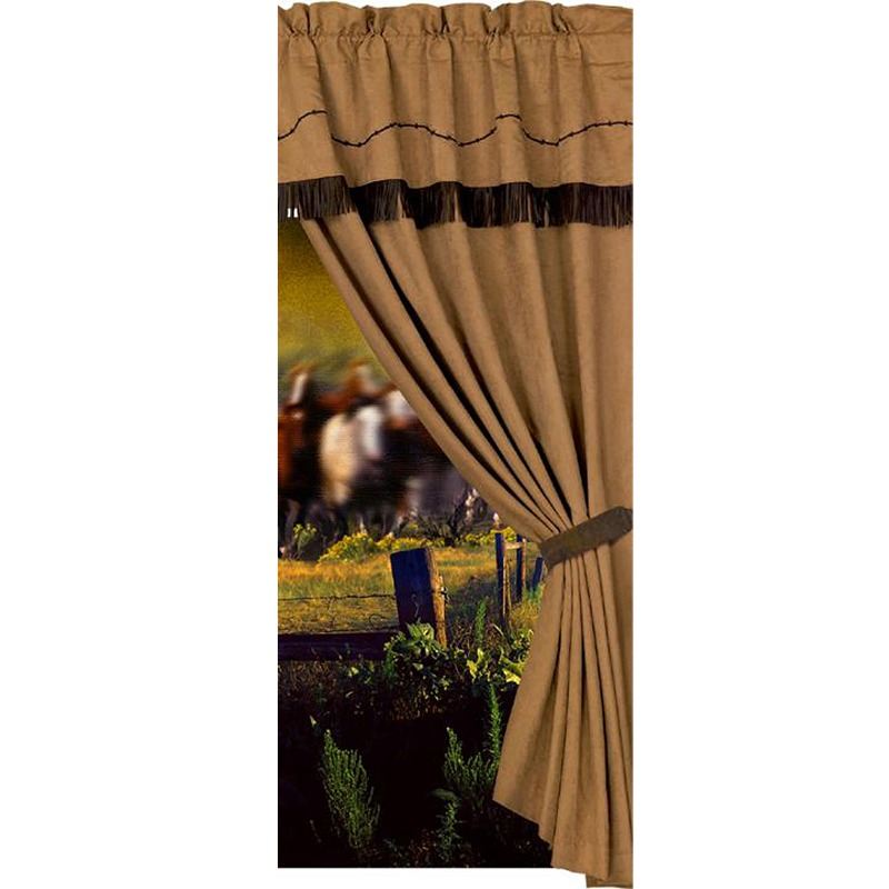 Western Decor Window Curtain with Embroidered Barbwire 60x84