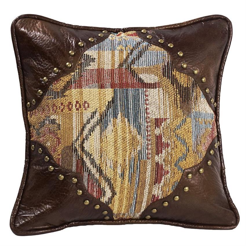 Southwestern Leather Throw Pillows : Ruidoso Southwestern Faux Leather Scallop Pillow