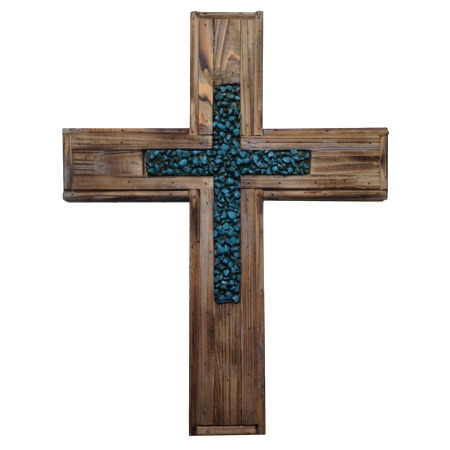 Wood And Turquoise Stones Cross Rustic Wall Decor