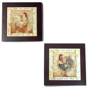 Rustic Rooster Framed Trivets Wall Decor