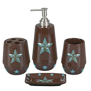 Western Bath Decor Laredo Star 4pc Bath Set Turquoise