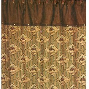 Bronc Rider Chenille Faux Suede Shower Curtain