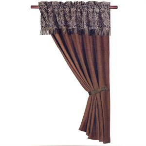 Leopard Rustic Curtain (1) Panel with Attached Valance