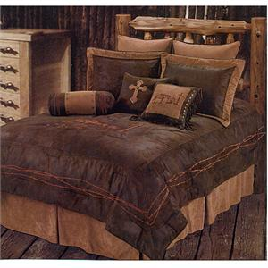 Praying Cowboy Bedding Set Chocolate Faux Leather Twin