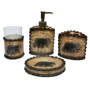 Bear Rustic Lodge Bath Accessories Set