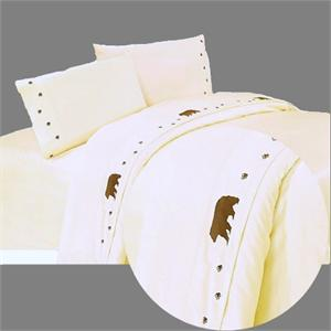 Bears Northwestern Lodge Embroidered Sheet Set (Cream)-King