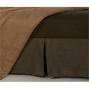 Distressed Faux Leather Chocolate Mocha Bedskirt Dust Ruffle Queen