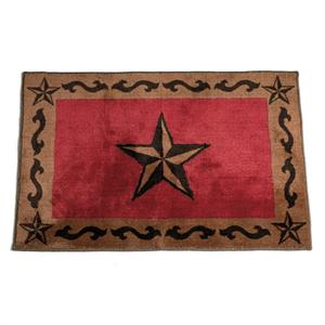 Star Bath Rug or Kitchen Rug Red 24x36