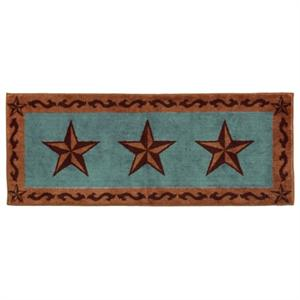 Laredo Star Bath Rug or Kitchen Rug Turquoise 24x60
