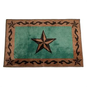 Bath Rug or Kitchen Rug Laredo Star Turquoise 24x36