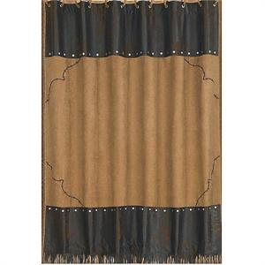 Barbwire Western Bath Decor Shower Curtain Dark Tan