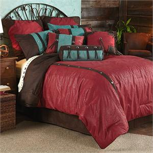 Cheyenne Red Faux Tooled Leather Bedding