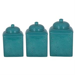 Savannah Western Styled 3 Pc Canister Set Turquoise