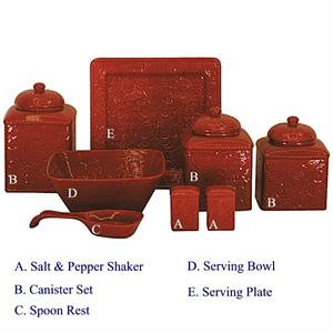 Savannah Western Styled 3 Pc Canister Set Red