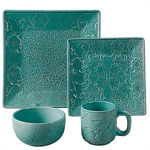 sc 1 st  RetroCOWBOY.com & Savannah Western Styled Stoneware Dinnerware Set Turquoise